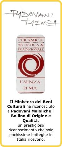 Bollino Origine e Qualità ceramiche di Faenza